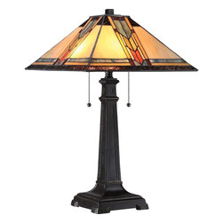 Quoizel - Quoizel Imperial Bronze Lamps - SKU: TF1798TIB - A Mission-inspired Tiffany design, Aberdeen features a masculine shade in hues of soft blue, pale yellow and hints of orange. The classic base is finished in Imperial Bronze.