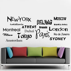 ColorfulHall Co., LTD - New York Beijing Moscow London Paris World City Name Lettering Wall Decals - New York Beijing Moscow London Paris World City Name Lettering Wall Decals