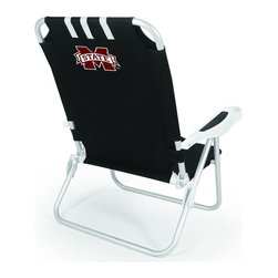 "Picnic Time - Mississippi State Monaco Beach Chair Black - The Monaco Beach Chair is the lightweight, portable chair that provides comfortable seating on the go. It features a 34"" reclining seat back with a 19.5"" seat, and sits 11"" off the ground. Made of durable polyester on an aluminum frame, the Monaco Beach Chair features six chair back positions and an integrated cup holder in the armrest. Convenient backpack straps free your hands so you can carry other items to your destination. Rest and relaxation come easy in the Monaco Beach Chair!; College Name: Mississippi State; Mascot: Bulldogs; Decoration: Digital Print"