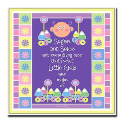 "Trademark Art - Kids Canvas Wall Art - Sugar and Spice by Gra - Choose Size: 18 in. x 18 in.Transmitting happiness and memories to my audience is the best return. Sparking that flame that encourages others to use their creative talents is just a bonus. 18 in. x 18 in. x 1.5 in.. 24 in. x 24 in. x 1.5 in.Grace Riley was born into a creative family with a history in the visual arts. Her father was a successful Commercial Artist at a prominent Advertising Agency in Hartford, whom emerged into opening his own advertising firm. As her father progressed in his career, she discovered what artistic talent was and learned from him what it took to be a true professional. Grace at that young age realized that her calling was to be an artist just like her father. The first incident Grace had with drawing was while reading the inside of a matchbook cover. It said, ""Draw this pirate and unlock your hidden talents."" Out of curiosity, she picked up a pencil, drew the pirate and has been drawing ever since.Grace spent almost 20 years in advertising for Multi-National Companies. This introduced her to the world of computers, which immediately replaced her ""pencil"" with a mouse. Grace's inspiration comes from many aspects of life. She always says: ""Shapes & color open the floodgates to my creativity. My daughter, my sisters, and my friends inspire me. Thoughts of my father inspire me the most."""