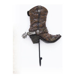 PS - 6.5 Inch Brown Cowboy Boot with Spur Wall Hook Holder - This gorgeous 6.5 Inch Brown Cowboy Boot with Spur Wall Hook Holder has the finest details and highest quality you will find anywhere! 6.5 Inch Brown Cowboy Boot with Spur Wall Hook Holder is truly remarkable.