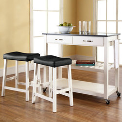 Crosley - Kitchen Cart Set with Granite Top - Constructed of solid hardwood and wood veneers, this mobile kitchen cart is designed for longevity. The handsome raised panel drawer fronts provide the ultimate in style to dress up any culinary space. Two deep drawers are great for holding essential items, such as utensils or storage containers. The adjustable/removable shelf is great for appliances. Remove the shelf completely to allow for storing larger objects. The heavy duty casters provide the ultimate in mobility. Style, function, and quality make this mobile solution a wise addition to your home. Features: -Solid granite top.-Raised panel drawer fronts.-Adjustable and removable shelf.-Towel bar.-Product Type: Kitchen cart.-Counter Finish: Granite.-Hardware Finish (Frame Finish: Black): Brushed Nickel.-Hardware Finish (Frame Finish: Cherry): Antique Brass.-Hardware Finish (Frame Finish: White): Brushed Nickel.-Distressed: No.-Powder Coated Finish: No.-Gloss Finish: No.-Base Material: Hardwood and veneers.-Hardware Material: Steel.-Solid Wood Construction: No.-Exterior Shelves: Yes -Number of Exterior Shelves: 1.-Adjustable Exterior Shelving: No..-Drawers Included: Yes -Number of Drawers: 2.-Push Through Drawer: No.-Dovetail Joints: No.-Drawer Dividers: No.-Drawer Handle Design: Handle.-Silverware Tray : No..-Cabinets Included: No.-Towel Rack: Yes -Removable Towel Rack: No..-Pot Rack: No.-Spice Rack: No.-Cutting Board: No.-Drop Leaf: No.-Drain Groove: No.-Trash Bin Compartment: No.-Stools Included: Yes -Number of Stools Included: 2..-Casters: Yes -Locking Casters: No.-Removable Casters: No..-Wine Rack: No.-Stemware Rack: No.-Cart Handles: No.-Swatch Available: No.-Commercial Use: No.-Recycled Content: No.-Eco-Friendly: No.-Product Care: Use a soft clean cloth that will not scratch the surface when dusting. Use of furniture polish is not necessary. Should you choose to use a furniture polish, test in an inconspicuous area first. Use of solvents of any kind could dam