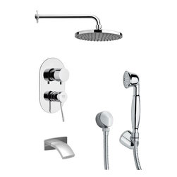 Remer - Round Modern Chrome Tub and Shower Faucet Set with Handheld Shower - Single function tub and shower faucet.