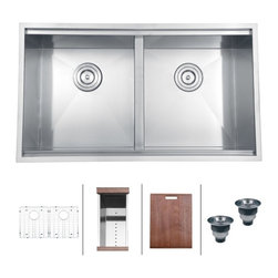 "Ruvati - Ruvati RVH8350 Undermount 16 Gauge 33"" Kitchen Sink Double Bowl - The combination of sharp, zero-radius corners with ledges on the front and back that act as a track for your matching cutting board make the Roma series a chef�s dream. Each Roma sink come with bottom rinse grids, a cutting board and basket strainers."