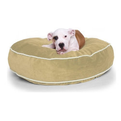 "OneUp Innovations, Inc - Jaxx Round Dog Bed 36"" inch, Microsuede Camel - Finally, match your doggie's bed to the rest of your decor! The Jaxx dog beds are offered in the same luxurious fabrics as all other Jaxx products and have the same cushion filled eco-friendly shredded foam. This bed is perfect for those pets who love to sprawl across a spacious spot and stay cuddly and warm. The plush cover removes easily and is machine washable - underneath a moisture proof liner to protect all surfaces"