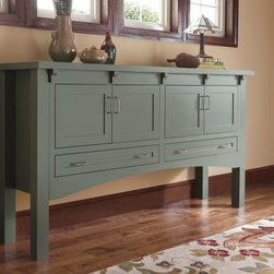 Decora Custom Green Finished Console Table - Can't find the right accent table for your space? We can help! Decora offers custom cabinetry options and custom finishes to bring your vision to life.