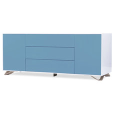 Contemporary Buffets And Sideboards Boomerang White-Light Blue Special Edition Sideboard Large