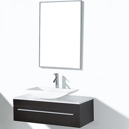VIRTU - Cape Coral 35-inch Single-sink Bathroom Vanity Set - The Cape Coral bathroom vanity set features maximum storage with one soft closing drawer.  The vanity is constructed from composite wood with melamine and comes complete with the countertop and mirror.