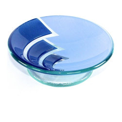 Gedy - Round Blue Glass/Aluminum Soap Holder - Decorative blue glass countertop soap holder. Soap holder made of glass and aluminum. Design in blue finish. From Gedy Loto Collection.