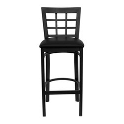 Flash Furniture - Hercules Series Black Window Back Metal Restaurant Bar Stool - Black Vinyl Seat - This heavy duty commercial metal bar stool is ideal for Restaurants, Hotels, Bars, Pool Halls, Lounges, and in the Home. The lightweight design of the stool makes it easy to move around. The tubular foot rest not only supports your feet, but acts as an additional reinforcement that helps secure the legs. This stool will keep you comfortable with the easy to clean vinyl upholstered seat. You will not regret the purchase of this bar stool that is sure to complement any environment to fill the void in your decor.