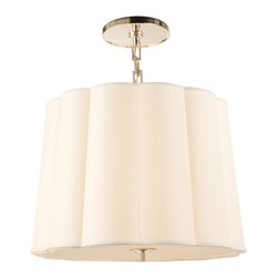 Simple Scallop Chandelier - Light a kitchenette, hallway or powder room with a classic scalloped chandelier. The silk shade creates an elegant glow, while five bulbs ensures enough light to fill your space. It's a great alternative to a chandelier or flushmount fixture.