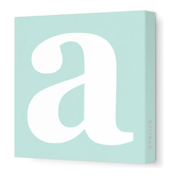 """Avalisa - Letter - Lower Case 'a' Stretched Wall Art, 28"""" x 28"""", Sea Green - Spell it out loud. These lowercase letters on stretched canvas would look wonderful in a nursery touting your little one's name, but don't stop there; they could work most anywhere in the home you'd like to add some playful text to the walls. Mix and match colors for a truly fun feel or stick to one color for a more uniform look."""