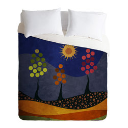 DENY Designs - Viviana Gonzalez Paisaje Y Color Duvet Cover - Turn your basic, boring down comforter into the super stylish focal point of your bedroom. Our Luxe Duvet is made from a heavy-weight luxurious woven polyester with a 50% cotton/50% polyester cream bottom. It also includes a hidden zipper with interior corner ties to secure your comforter. it's comfy, fade-resistant, and custom printed for each and every customer.
