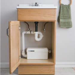 Saniflo Sanishower - The Sanishower is a gray water pump small enough to fit inside a vanity cabinet or a raised shower base. The Sanishower pumps waste water from a shower, sink, bar sink and other fixtures. It is capable of pumping water 12 feet in height or 100 feet away from the soil stack. The Sanishower makes it possible to have a full bathroom where you never before thought possible.