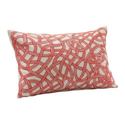 """Coyuchi - Endless Embroidered Dec Pillow 14""""x20"""" Red Maple w/Natural - Four sinuous lines of stitching loop and meander endlessly across our linen pillow. Coconut shell buttons close the back. Removable kapok insert included."""