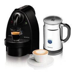 """Nespresso - Essenza Manual Espresso Machine with Aeroccino Plus Milk Frother Bundle - Features: -Essenza manual maker.-Easy insertion and ejection of capsules.-Compact Brewing Unit Technology.-Thermoblock heating element.-Fast preheating time: 60 seconds.-Manual coffee volume control.-Holds 12 to 14 used capsules.-Removable water tank: 30 oz / 0.9 L.-9.9"""" H x 6.5"""" W x 11.5"""" D, 6 lbs / 2.7 kg.-Collection: Essenza.-Distressed: No.Dimensions: -Overall Product Weight: 6 lbs.-Overall Height - Top to Bottom: 9.9"""".-Overall Width - Side to Side: 6.5"""".-Overall Depth - Front to Back: 11.5"""".Warranty: -1 Year warranty."""