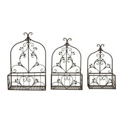 "Benzara - Set of 3 Metal Arches Floral Wall Planter Set - Set of 3 metal Arches floral wall planter set. Classic Steel metal floral decor for any home decor. Easy to hang planter. Dimension: large 24""H, medium 22""H and small 18""H."