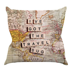 """Kess InHouse - Sylvia Cook """"Travel Bug"""" Map Throw Pillow (16"""" x 16"""") - Rest among the art you love. Transform your hang out room into a hip gallery, that's also comfortable. With this pillow you can create an environment that reflects your unique style. It's amazing what a throw pillow can do to complete a room. (Kess InHouse is not responsible for pillow fighting that may occur as the result of creative stimulation)."""