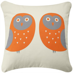 Wabisabi Green - Owl Eco Pillow, Orange and Gray/Cream, Without Insert - - Durable recycled polyester-organic cotton blend fabric.