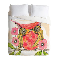 DENY Designs - Cori Dantini Miss Goldie Twin Duvet Cover - Get ready for fun, all you night owls. With its bright colors and perky images custom-printed on soft woven polyester, this duvet cover is a wise choice, especially since it comes in a range of sizes. Pop in your favorite duvet, zip the hidden zipper and rest easy.