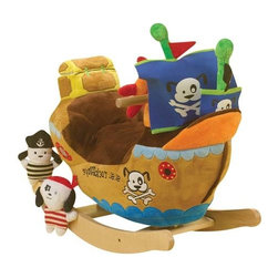 Fifthroom - Plush Pirate Ship Rocker - Yo ho ho and a bottle of apple juice!!!  Your little pirate can sail the seven seas while listening to a Pirate song.