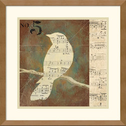 Amanti Art - Bird Silhouettes II Framed Print by D. Salusti - Salusti creates abstract works with a populist sensibility. This attractive collage combines music and nature for a tasteful nod to contemporary art.