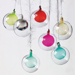 Double Glass Sphere Ornament - These are just about my favorite ornaments. I not only like the look of these, but also love that they can be monogrammed and personalized. Add an initial or an anniversary — so cool.