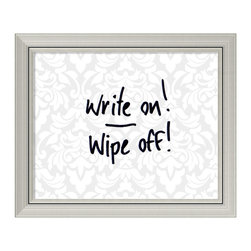 Amanti Art - 'Grey & White Damask Dry-Erase Board - Small' Framed Art Print 24 x 20-inch - Perfect for writing and drawing, this glass message board works with standard dry erase markers (not included). This Grey and White Damask Dry-Erase Board features a subtle pattern under glass, bordered by a burnished silver colored frame with clean lines and a raised inner lip.