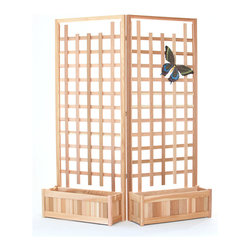 All Things Cedar - 4pc. Planter Set w/ Trellis Screen - This set includes 2 PL30U planter boxes with 2 TS33U trellis screen panels Item is made to order.