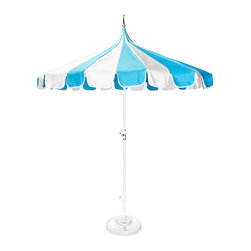 Outdoor Pagoda Umbrella - Talk about cheerful! This Pagoda umbrella from Jonathan Adler is spunky. It is constructed with Sunbrella fabrics and steel and features an easy-to-use hand crank.
