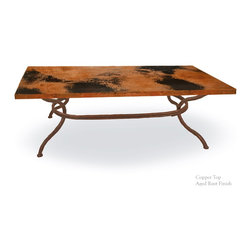"""Mathews & Company - Woodland Coffee Table with Top - Rustic Woodland Coffee Table with36 x 36"""" table top features a modern style wrought iron base that is available in 4 custom finish options and your choice of a Copper, Zinc, Glass, Marble, or Wood table top. Pictured in Copper top and Aged Rust finish."""