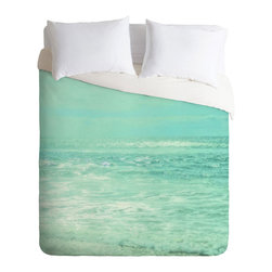 Sand City Surf Duvet Cover - Whisk yourself away to the coast each morning from underneath this gorgeous duvet cover. A chic photorealistic print blends sea and sky into a unified wash of beautiful turquoise tones.