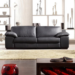 Marthena Home Furnishings - Sofa Angela Full Length Couch - 044SF - Upholstered in top grain leather from Italy.