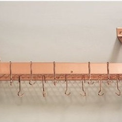 "36¼"" x 9"" x 11½"" Satin Copper Bookshelf Rack w/Grid,12 Hooks, RTA - Satin Copper ""Bookshelf"" Pot Rack.  Professional style storage for any kitchen.  Includes grid, 12 hooks, mounting hardware.  Made of Heavy Gauge Steel, the Satin Copper Finish is lacquered for easy maintenance. Assembly required. 36¼""Wx 9""Dx12""H"