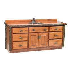 Fireside Lodge Furniture - Hickory 6 ft. Log Vanity (Double w/o top - Ru - Finish: Double w/o top - Rustic AlderHickory Collection. 7 Drawers. 2 Door storage cabinet. Clear-coat catalyzed lacquer finish for extra durability on the cabinet. Tops come standard with a liquid glass finish for lasting durability with close proximity with water. Dovetailed drawers have full-extension ball-bearing glides rated at 100 pounds. All hickory logs are bark on and kiln dried to a specific moisture content. Individually hand crafted. Clear coat catalyzed lacquer finish for extra durability. 2-Year limited warranty. 72 in. W x 21 in. D x 32.25 in. H (190 lbs.)