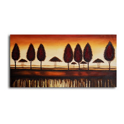 "My Art Outlet - Hand Painted ""Bronze tree-lined horizon"" Oil Painting - Size: 20"" x 40"" (20"" x 40""). Enjoy a 100% Hand Painted Wall Art made with oil paints on canvas stretched over a 1"" thick wooden frame. The painting is gallery wrapped and ready to hang out of the box. A very stylish addition to any room that is sure to get the attention of guests."
