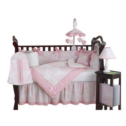 Sweet Jojo Designs - Pink French Toile 9-Piece Crib Bedding Set - The Pink French Toile 9 pc Crib Bedding Set by Sweet Jojo Designs has all that your little bundle of joy will need. Let the little one in your home settle down to sleep in this incredible nursery set. This elegant baby girl crib bedding set uses a traditional French toile print with a super soft chenille and coordinating gingham, decorated in satin bows as a special accent. This collection uses the stylish colors of Pink and White. The design uses 100% cotton fabrics and cotton chenille that are machine washable for easy care.  This wonderful set will fit all cribs and toddler beds.Your Crib Set Includes: