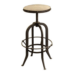 Kathy Kuo Home - Bryan Industrial Loft Retro Rustic Pine Swivel Bar Counter Stool - Give your space a little industrial attitude with the addition of this counter stool. With a swiveling metal base and reclaimed elm seat, it gives off this cool, retro vibe that works wonderfully in modern-day interiors.
