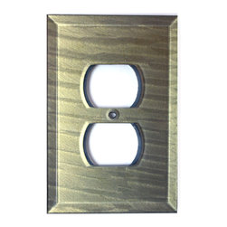 Deep Opal Glass Single Duplex Outlet Cover - Congo Light Jade is expressive and bold with a swirled pattern of black and jade green. Swarovski olivine crystals offer a touch of sparkle while the clear cabochon adds extra liveliness reflecting both light and color.