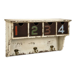 Antiqued Wall Cubby with Hooks - Count down to a quicker exit—organize your keys, glasses, and more in this sweet, rustic numbered cubby. The distressed white paint is offset by handsomely burnished wire baskets and three hooks for your coats, bags, and more.
