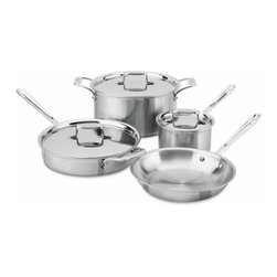 All-Clad - All-Clad d5 Brushed Stainless 7-Pc Cookware Set - Includes: