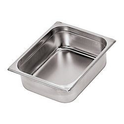 "Paderno World Cuisine - 25 1/2 inches by 20 7/8 inches Stainless-steel Hotel Pan - This 25 1/2 inches by 20 7/8 inches stainless-steel hotel food pan is a standard size which fits into universal racks, heating elements and walk-in coolers. This standard was intended to rationalize the working processes in food industry operations by creating a high level of compatibility of kitchen equipment. All inserts are stackable and have rounded reinforced edges. They are made of 21-gauge, 18/10 mirror-polished stainless-steel. They have seamless construction and are durable, corrosion-resistant and non-tarnishing. They do not react to any food and protect flavors. In addition to in-process control during manufacturing and fabrication, these metals have met the specifications developed by the American Society for Testing and Materials (ASTM) with regard to mechanical properties such as toughness and corrosion resistance. The Palermo series is a part of a lineage of cookware more than 80 years old. It is NSF approved.; 18/10 Stainless-steel; NSF Approved; Professional quality; Industry standard sizes; Durable, corrosion-resistant and non-tarnishing; Weight: 7 lbs; Made in Italy; Dimensions: 2.5""H x 25.5""L x 20.88""W"