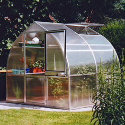 Hoklartherm - Hoklartherm RIGA IIS 7.6 x 7-Foot Greenhouse Kit - RIGAIIS/RIGAIISBASE/TOP&BOTTO - Shop for Greenhouses from Hayneedle.com! Additional Features8 MM UV-coated twin wall polycarbonate over main bodyFront and back 10 MM UV-coated twin wall polycarbonate10 MM polycarbonate provides extra strengthIncludes a base single top shelf and a regular shelfTop shelf hangs forward so it doesn't block the lightShelving is suspended to provide maximum storageBoth shelf inserts use twin polycarbonateTwin polycarbonate allows for better light distributionInserts are removable to make room for taller plantsSome assembly requiredDutch barn door measures 30W x 72H inchesPeak height measures 6.9 feetMeasures 7.6W x 7L x 6.9H feetThe RIGA IIS 7.6 x 7-Foot Greenhouse Kit combines beauty and style with a high-performance European-style greenhouse. Designed to not only protect established plants but also to allow you to grow plants in any season even in harsh winter climates. The strongest greenhouse in its class the RIGA IIS has a sturdy metal frame and frame profiles that are permanently attached so they won't loosen over time. The entire body of the greenhouse has 8 MM UV-coated twin wall polycarbonate while the front and back feature 10 MM UV-coated twin wall polycarbonate for extra protection and durability.The RIGA IIs Greenhouse Kit includes a base a single top shelf and a regular shelf. Both shelf inserts features twin polycarbonate for better light distribution. The top shelf hangs forward so it's easier to reach and will not block the sunlight. This shelving is suspended to make sure you have optimal space in your greenhouse. All doors and windows are designed for optimal ventilation and the Dutch doors also have a key lock. Assembly is a weekend project for one or two people.About HoklarthermAfter erecting his first greenhouse the thermo semicular arch greenhouse in his family garden in 1978 Mr. Werner Hollander graduate engineer founded Hoklartherm in 1982. Mr. Holla