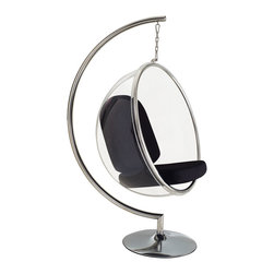 Hanging Orbit Chair in Black - Hang out in the relaxing seat of this orbit chair. Grab a glass of wine or your favorite book and jump in. Hint: you may need two to eradicate fighting over who gets to sit in the chair!