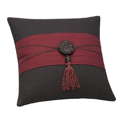 Natori - Natori Dynasty Square Pillow - The Dynasty Collection showcases a rich Imperial Red, paired with a deep Dark Chocolate. The duvet is woven with signature Natori Bamboo and offers a clean finish. The accessories are the jewelry for this beautiful collection. The are made from Natori Bamboo and Raw silk, with intricate embroideries and trims. Body: T300 52/48 Bamboo Cotton ob jac quilting with linen cotton ob;Filling: 95/5 feather down