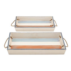 Benzara - Wood Tray with Durable and Long Lasting Life - Set of 2 - Stylish and practical, this wooden tray helps you to store your knick-knacks safely. It comes in two different sizes of similar pattern with one tray smaller than the other. Stylish and strong, this set of two wooden trays is a must-have for your home decor. The tray face features a blend of beautiful colors of orange and blue in a special pattern. The rope handle at both ends provide a firm grip which is required to conveniently hold the tray and it also helps in effortlessly transferring the heavy contents of the tray. Crafted with high quality wood, this set of elegant trays is both durable and long lasting even after years of use. The wooden construction makes it lightweight yet highly sturdy to hold heavier objects. This high utility tray is convenient to store your essential small accessories in your kitchen. When kept on the study table, it comes in handy to keep the letters, newspapers, stationery and magazines. It is sure to add great decor to your dining table when filled with fruits.