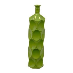 Urban Trends Collection - Large Green Ceramic Bottle - 5.5 in. W x 4.5 in. L x 22 in. H