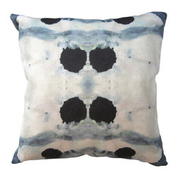 "Adaptive Textiles - Dynasty Slate18""X18"" Pillow - These artfully placed indigo ink blots are so on trend right now. Adding this pillow to your sofa or side chair would be like bringing in a work of art. It would absolutely elevate the eclectic mood of your room."