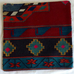 Turkish import - Floral trim kilim pillow cover - Deep rich colors are woven into this lovely kilim pillow cover.   Please note: pillow insert is not included.