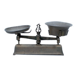 Consigned Antique Cast Iron Balance Scale - Rustic with Metal Pans - This rustic two-pan cast iron balance scale is perfect on its own or as a display for other items. We love the look of these, somewhere between industrial and French Farmhouse. This one is perfectly weathered!